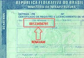 Exemplo da aplicação do código de renavam no documento do veículo